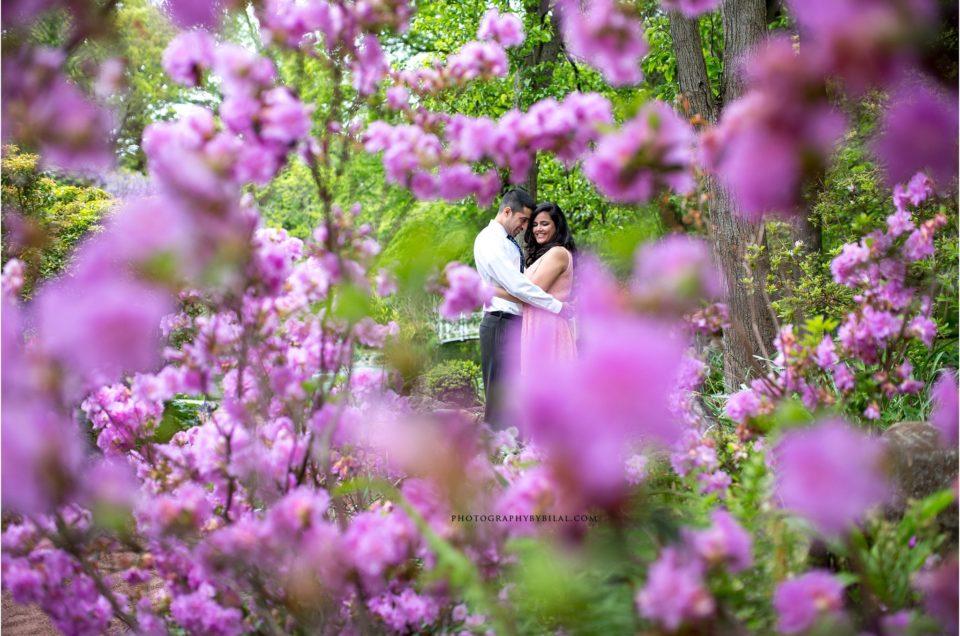 Engagement photos at Sayen Gardens